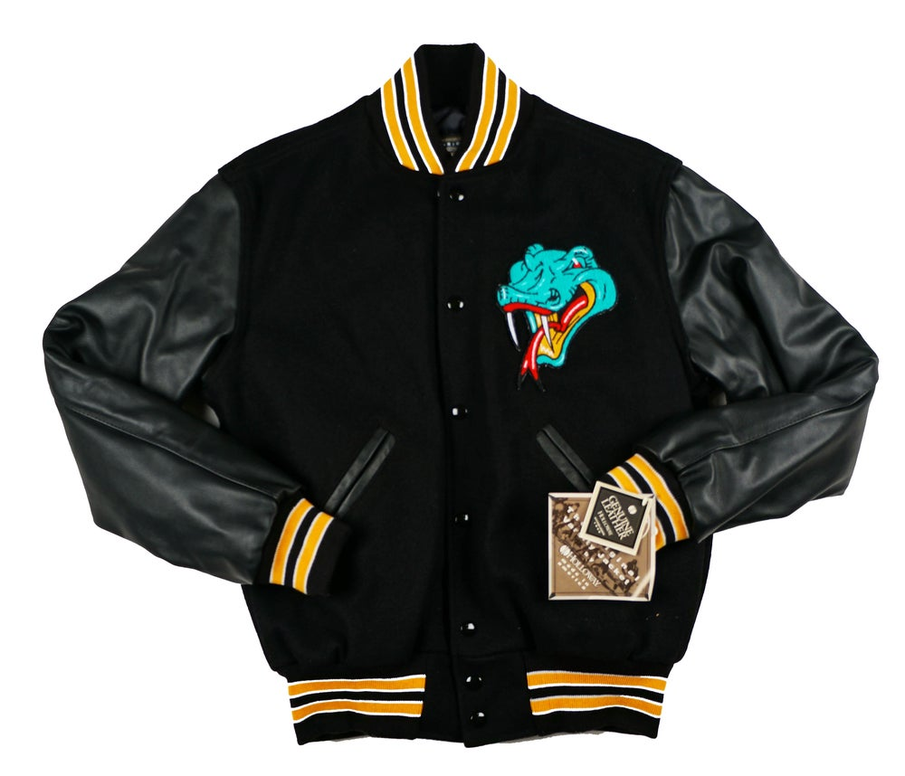 Image of Detroit Vipers Black Varsity Jacket Gold Stripe