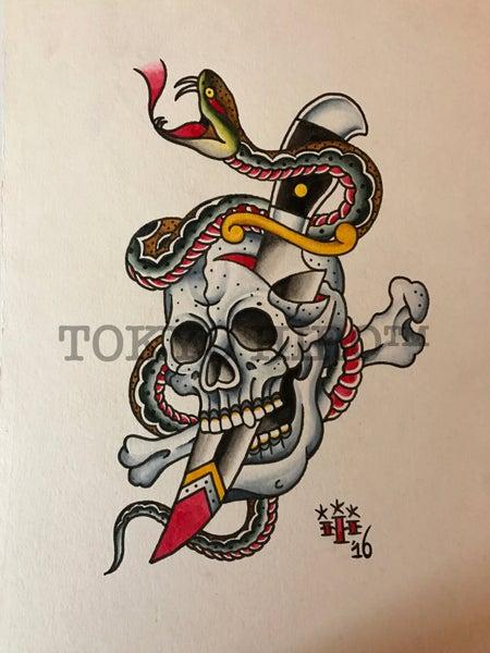Image of Skull,Snake& Dagger