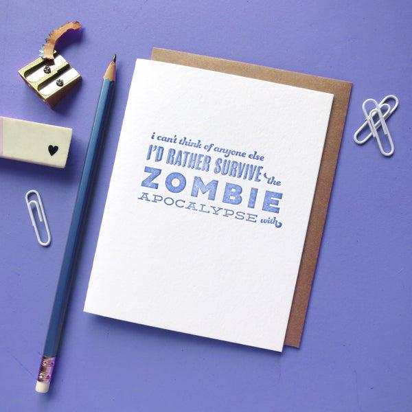 Image of zombie pick-up line letterpress card
