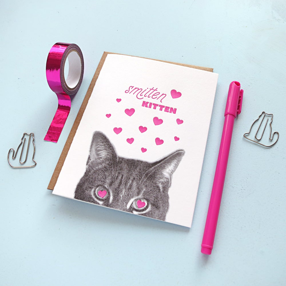 Image of gee whiskers series: smitten kitten letterpress greeting card