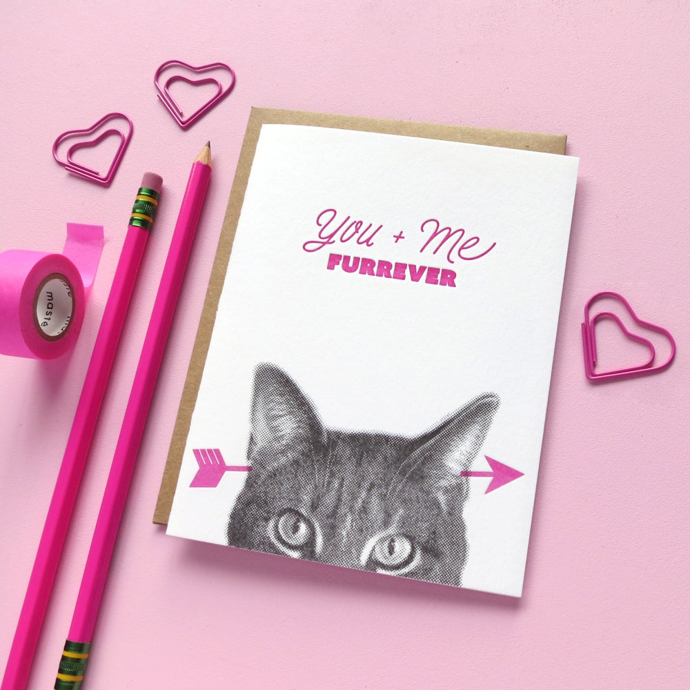 Image of gee whiskers series: you + me furrever letterpress greeting card