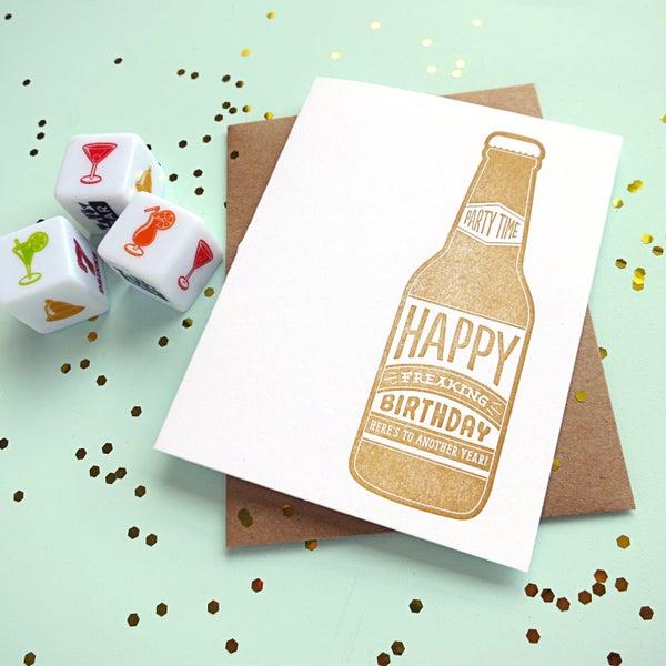 Image of beer birthday letterpress card