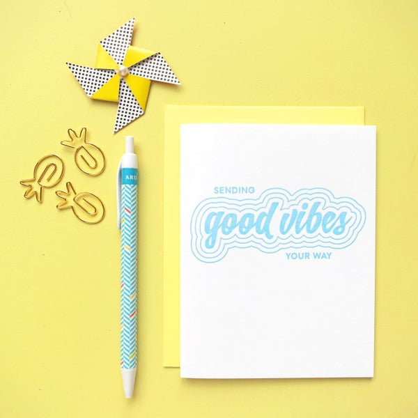 Image of good vibes letterpress card