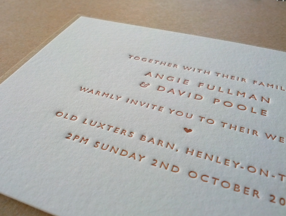Image of Letterpress Wedding Invitations: 'Classic' One Colour Print (smaller size). Set of 45.