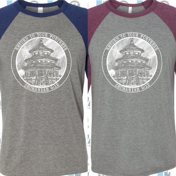Image of  Baseball Tee: Maroon and Grey Triblend or Navy and Grey Triblend