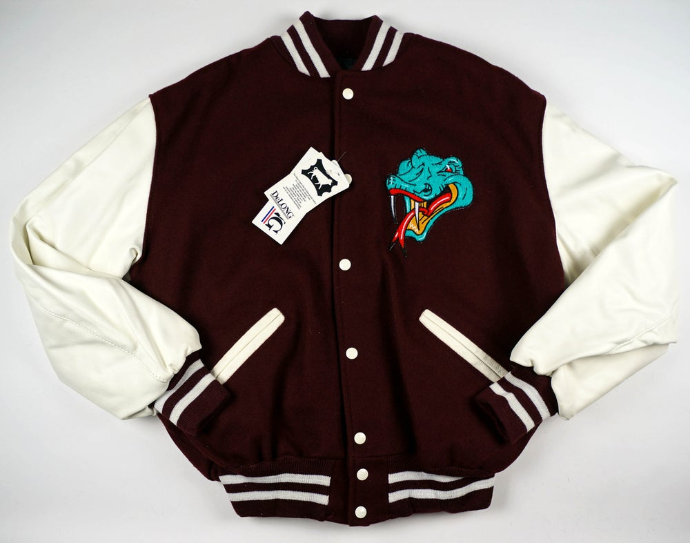 Image of Detroit Vipers Maroon and White Varsity jacket