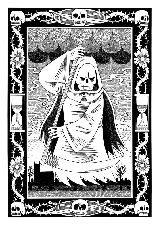 Image of Reaper - Black and White Screen-Print