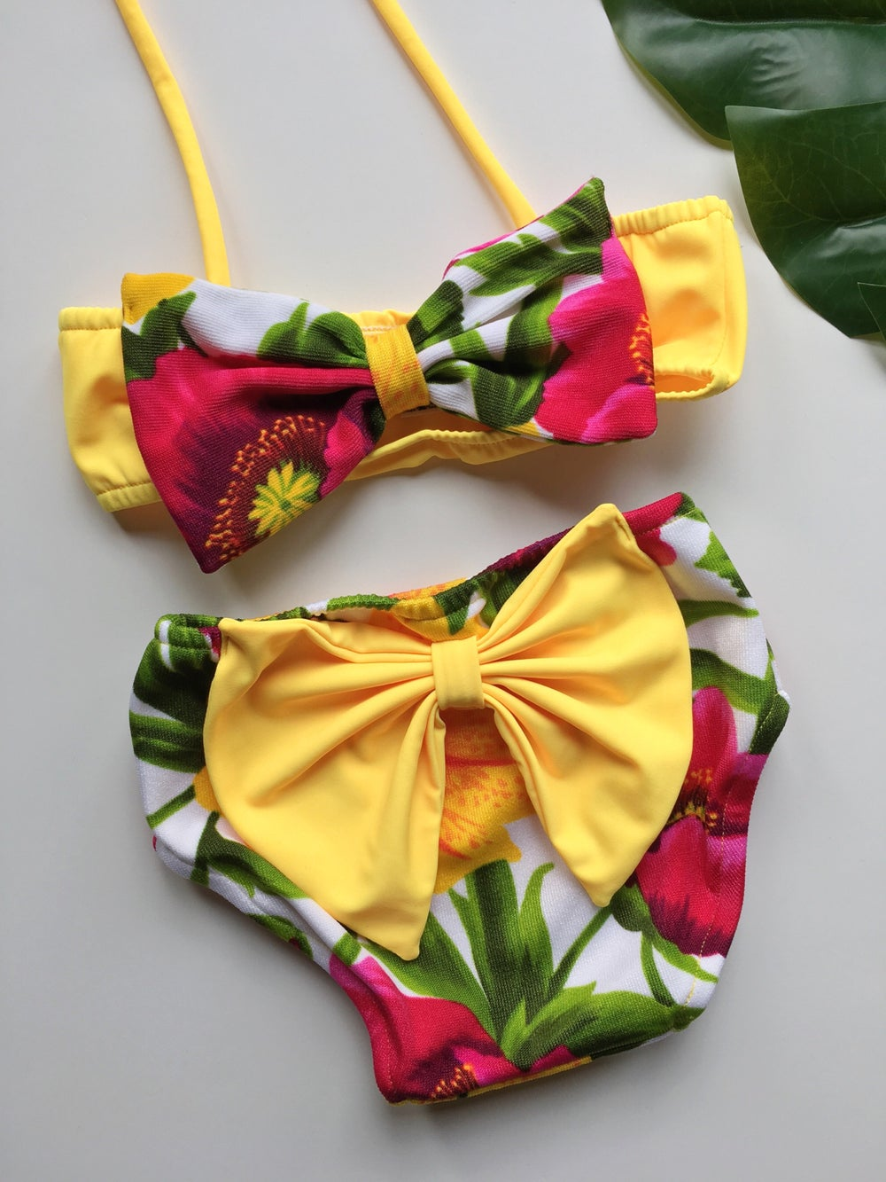 Image of Little girl bikini Rose Hawaii with bow detail