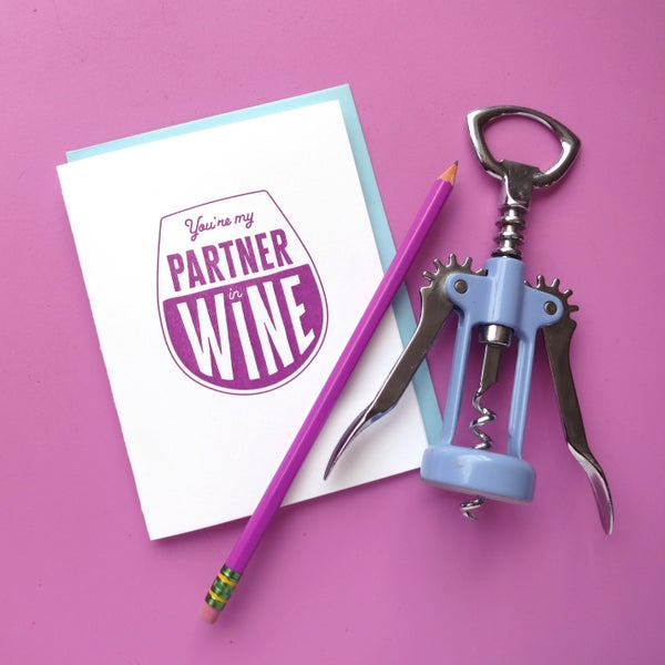 Image of partner in wine letterpress card