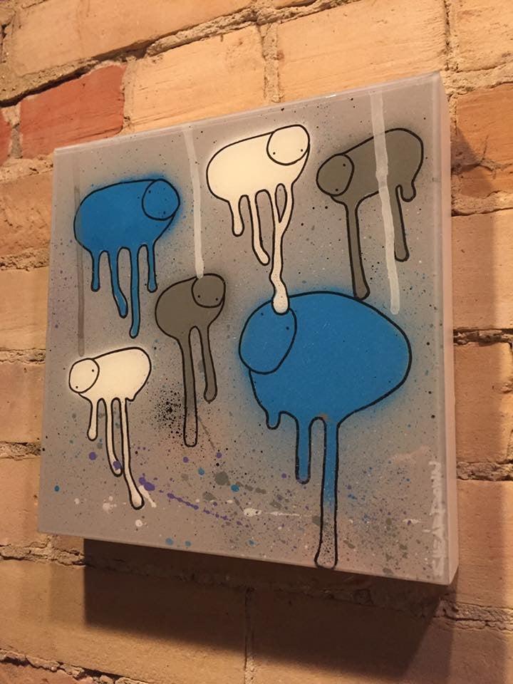"Image of Raining Cows, ""BLUE MOON"" 10""X10"""
