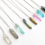 Image of Rainbow Necklace - silver tone chain - dyed / plated Quartz crystal