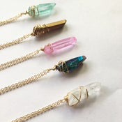 Image of Rainbow Necklace - gold plated chain - dyed / plated Quartz Crystal