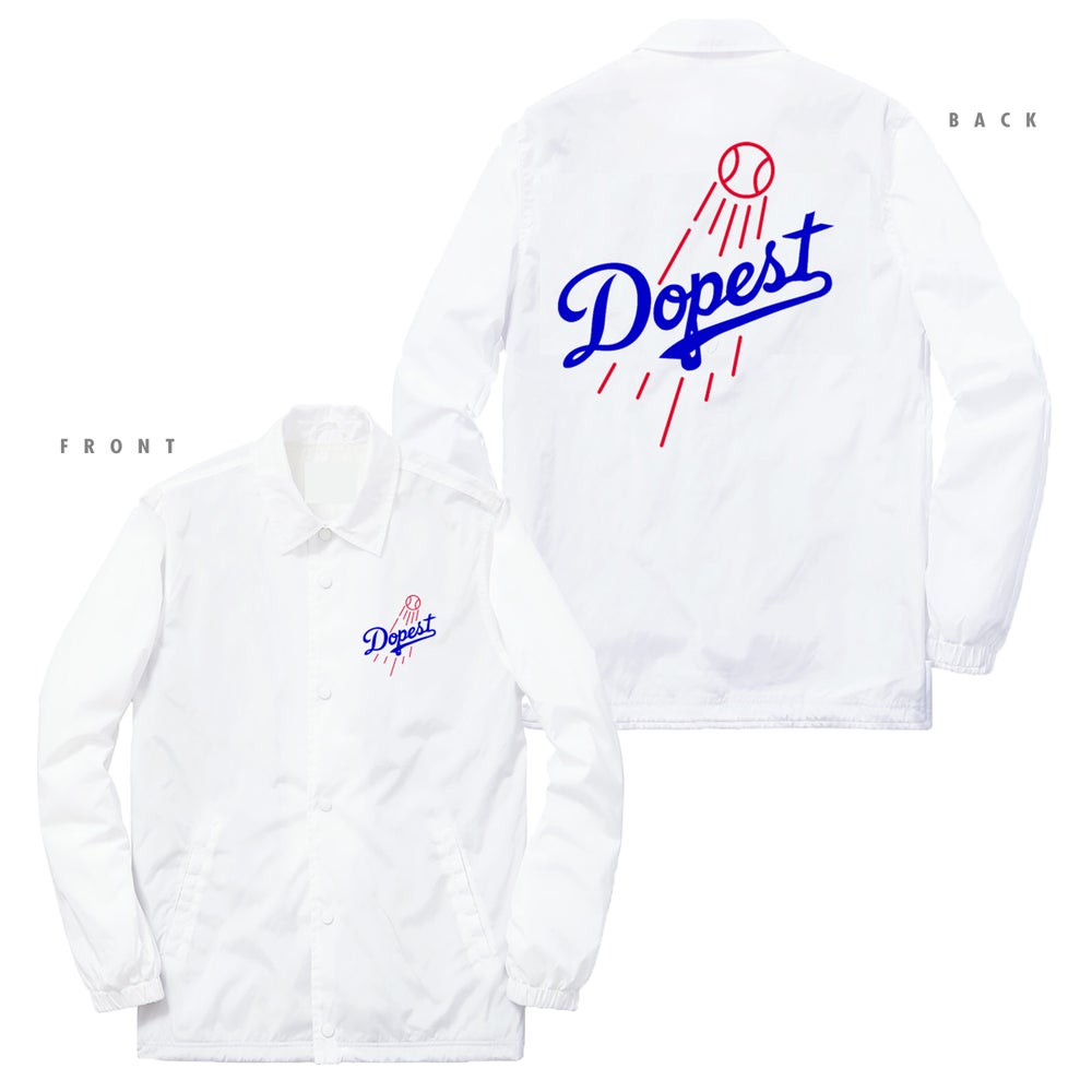Image of DOPEST DODGERS INSPIRED COACHES JACKET - WHITE