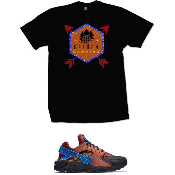 Image of CAMPFIRE HUARACHE OREGON CAMPING TEE - BLACK