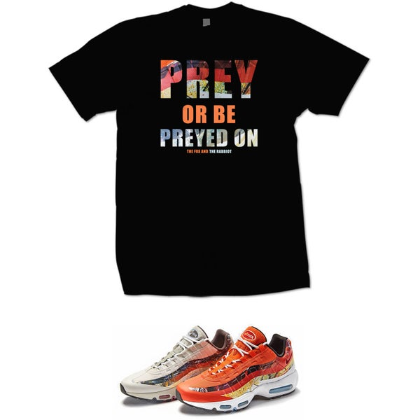 Image of DAVE WHITE FOX AND RABBIT PREY OR BE PREYED ON AIR MAX 95 T SHIRT - BLACK