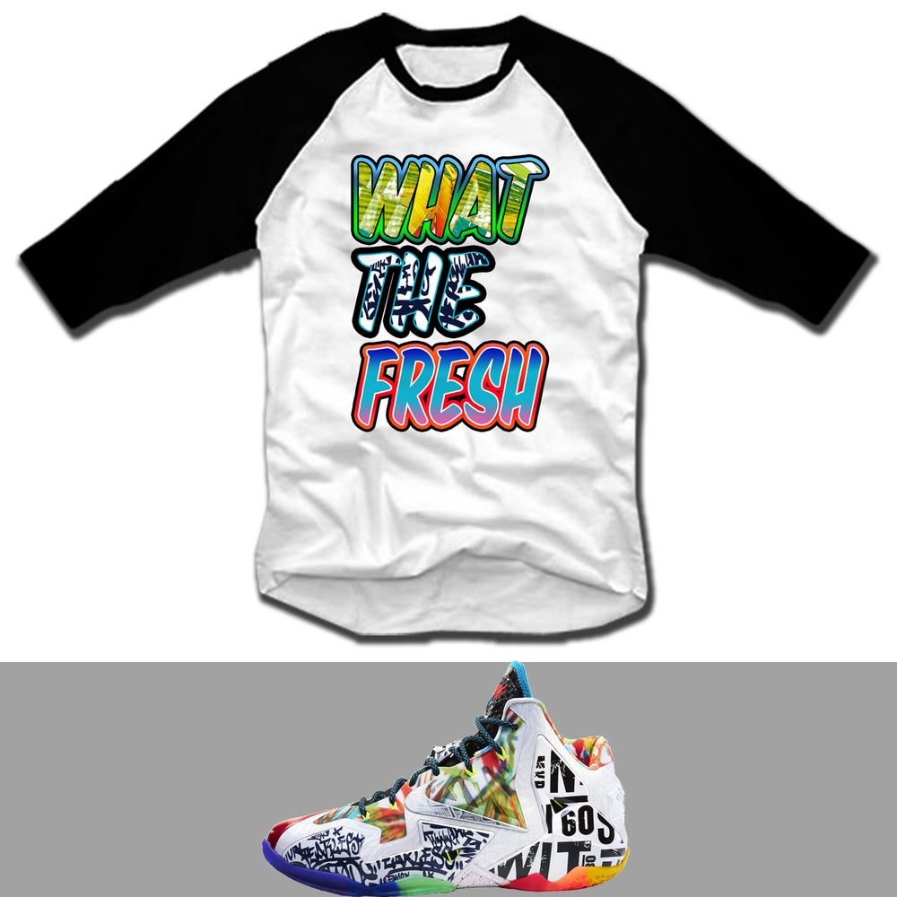 Image of WHAT THE FRESH WTL WHAT THE LEBRON 11 RAGLAN T SHIRT - WHT/BLK