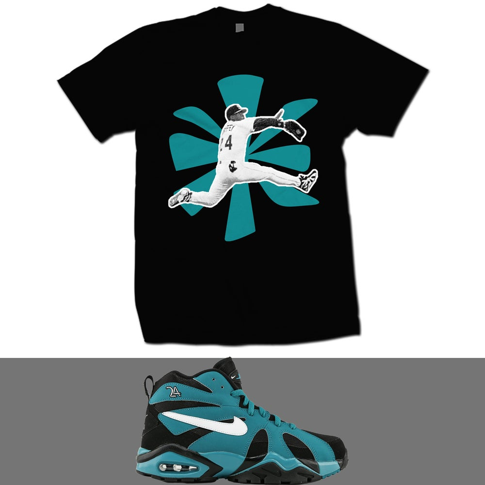Image of KEN GRIFFEY DIAMOND FURY '95 BLACK AND TEAL T SHIRT - BLK