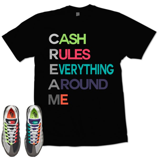 Image of CREAM AIR MAX 95 GREEDY WHAT THE T SHIRT - BLACK