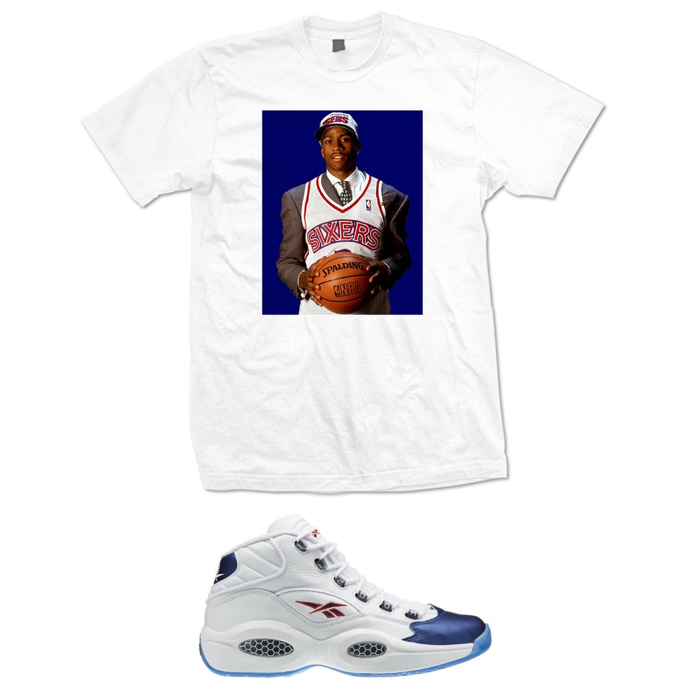 Image of IVERSON QUESTION BLUE TOE DRAFT PIC T SHIRT - WHITE