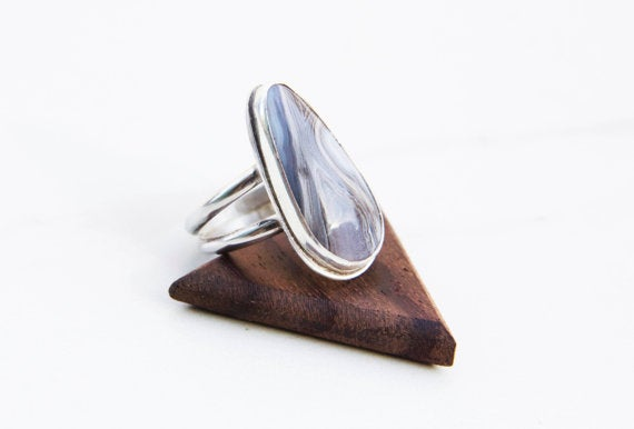 Image of Blue Lace Agate Sterling Silver Ring with Double Band