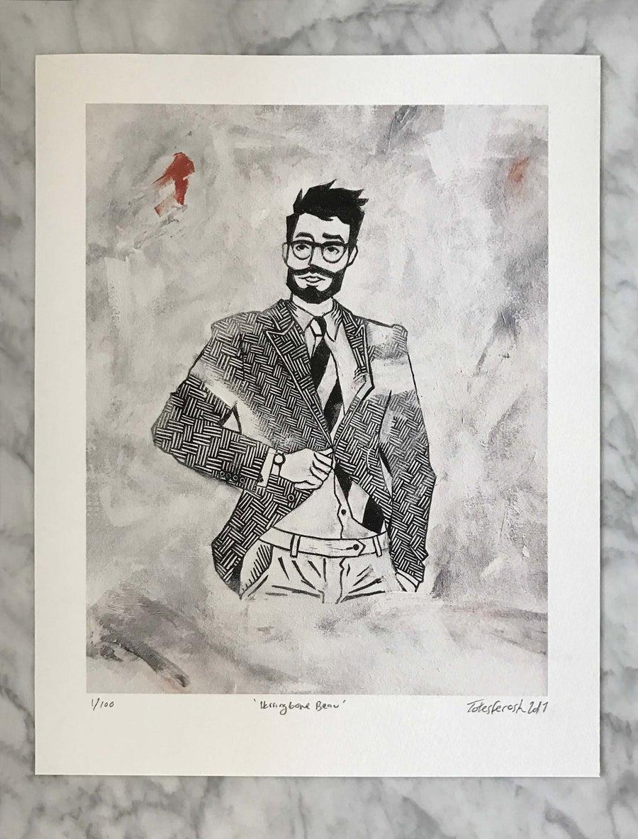 Image of 'Herringbone Beau' Giclée Print