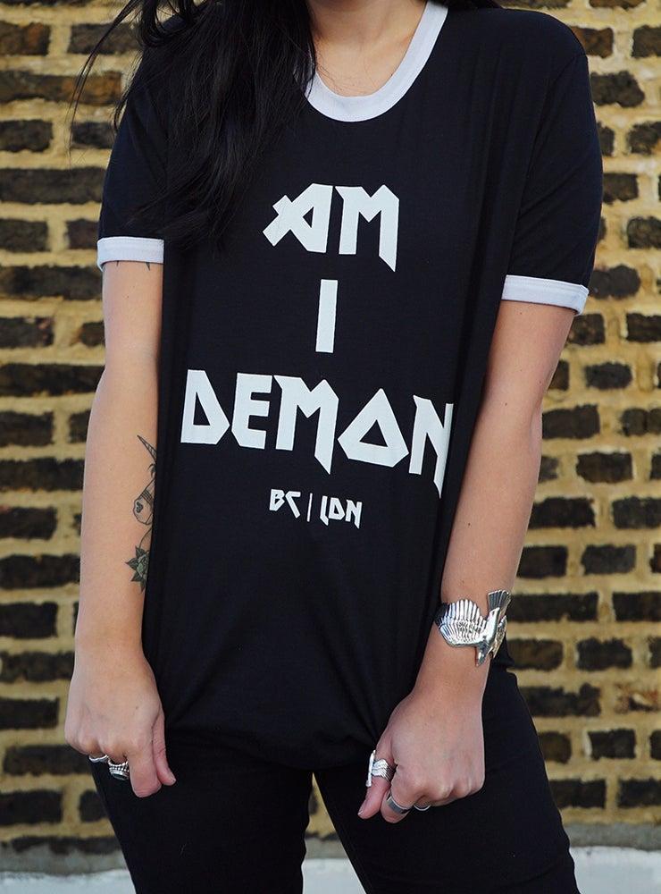 Image of Am I Demon Black Ringer Tee