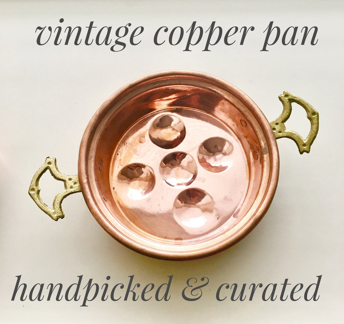 Image of Vintage Copper cake pan with brass handles