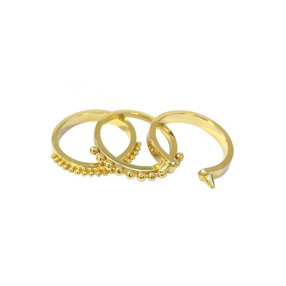 Image of A set of three gold vermeil rings