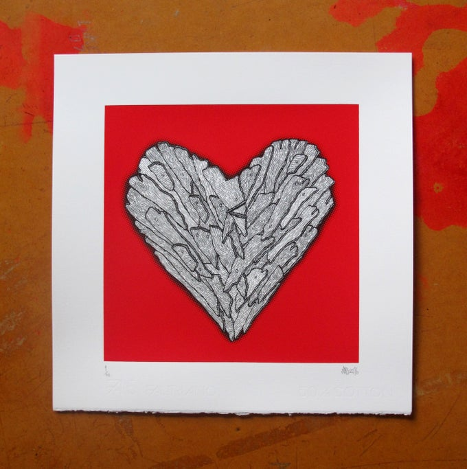 Image of Wooden Heart - screen print