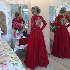 Image of Satin Red Lace Ball Gown Prom Dress,Long Sleeves V Neck Beading Prom Gown