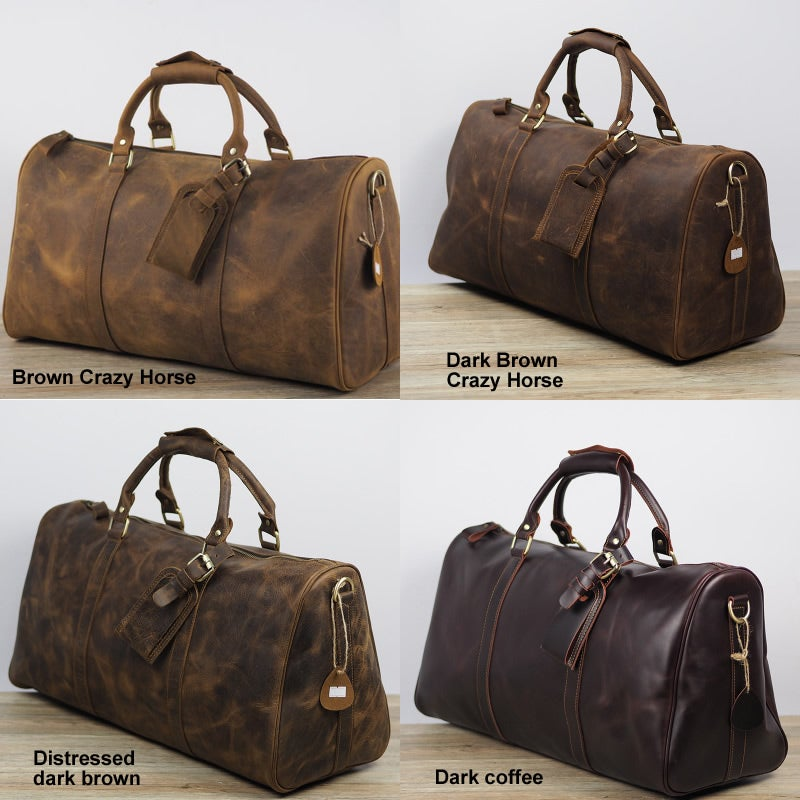 Image of Handmade Vintage Leather Duffle Bag / Travel Bag / Luggage / Gym Bag / Weekend Bag #N66M