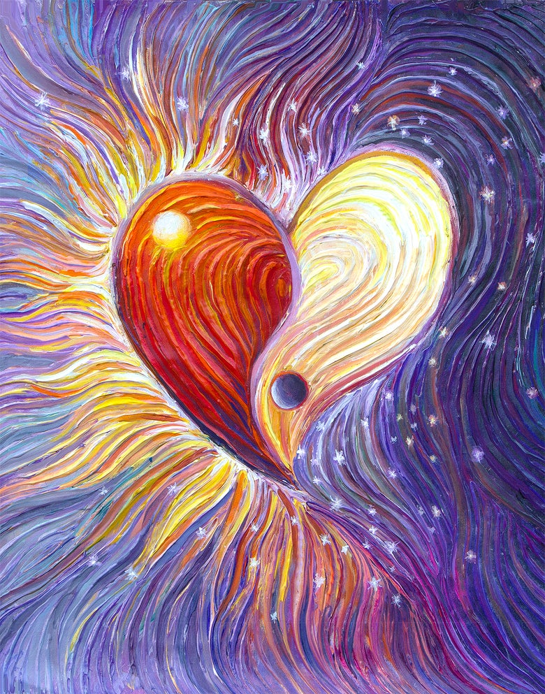 Image of Yin Yang Heart Energy Painting - Giclee Print