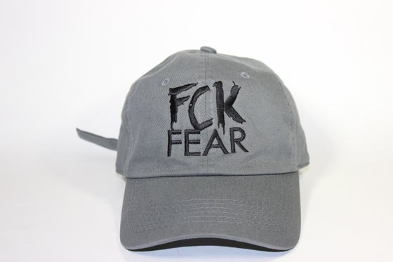 Image of FCK FEAR LOGO CAP || Grey w/ Black Lettering