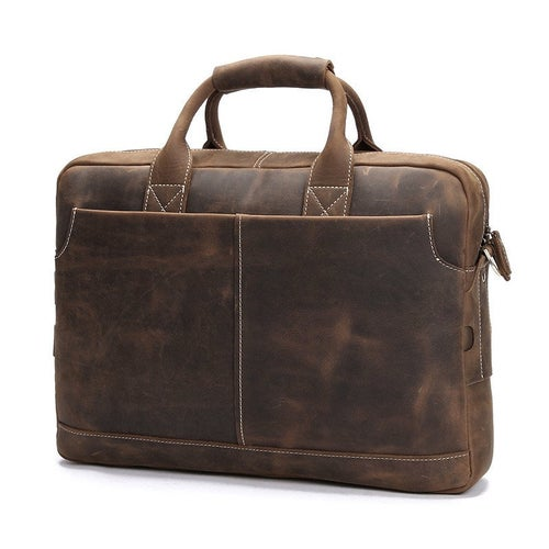 "Image of Handmade Vintage Leather Mens Briefcase, 16"" Laptop Bag, Messenger Bag 8012"