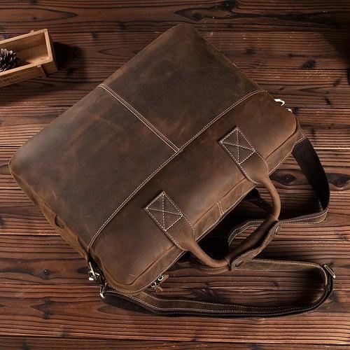 """Image of Handmade Vintage Leather Mens Briefcase, 16"""" Laptop Bag, Messenger Bag 8012"""