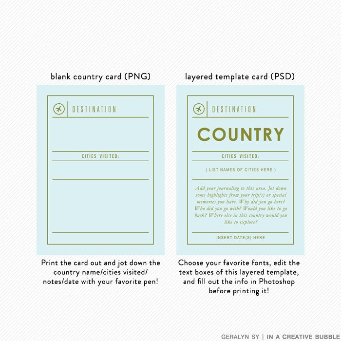 Image of Jetsetter Country Cards + Layered Templates (Digital)