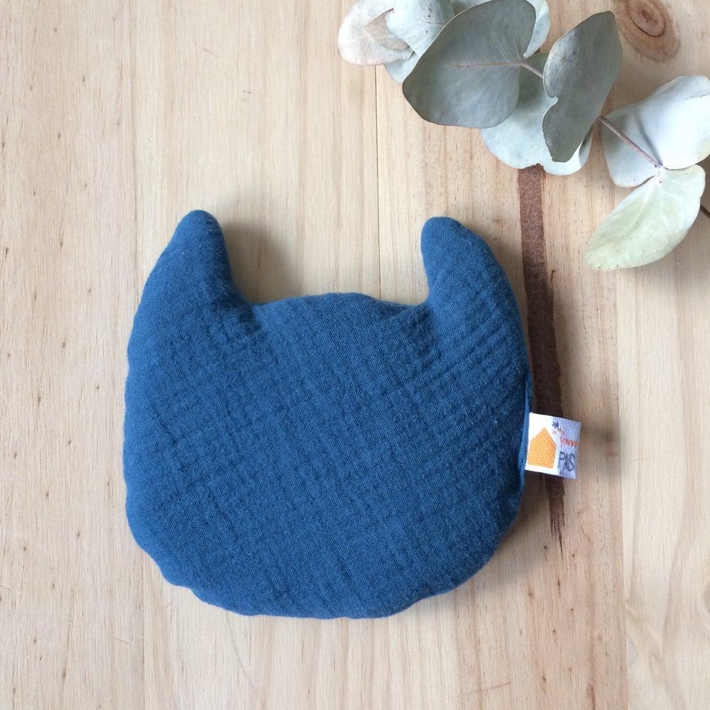 Image of Bouillotte bébé CHAT en lange bleu
