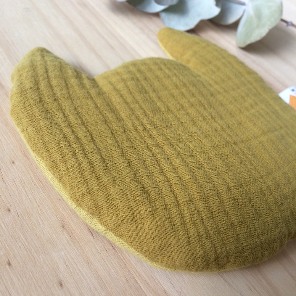 Image of Bouillotte bébé CHAT en lange moutarde