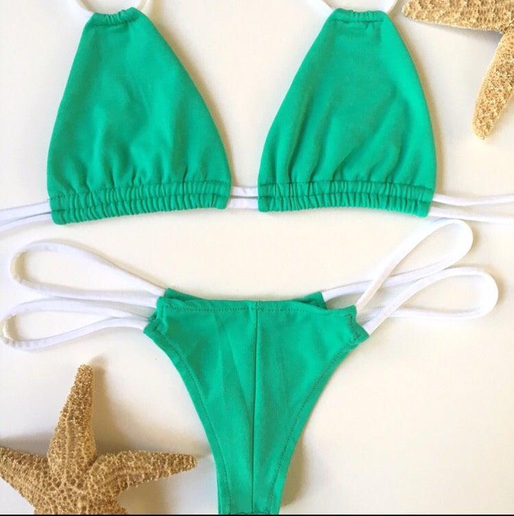 Image of Skinny strings mint green and white bikini