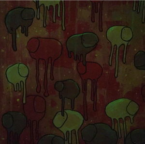 "Image of Raining Cows, ""BEDTIME""  16""X20"" GLOW IN THE DARK."