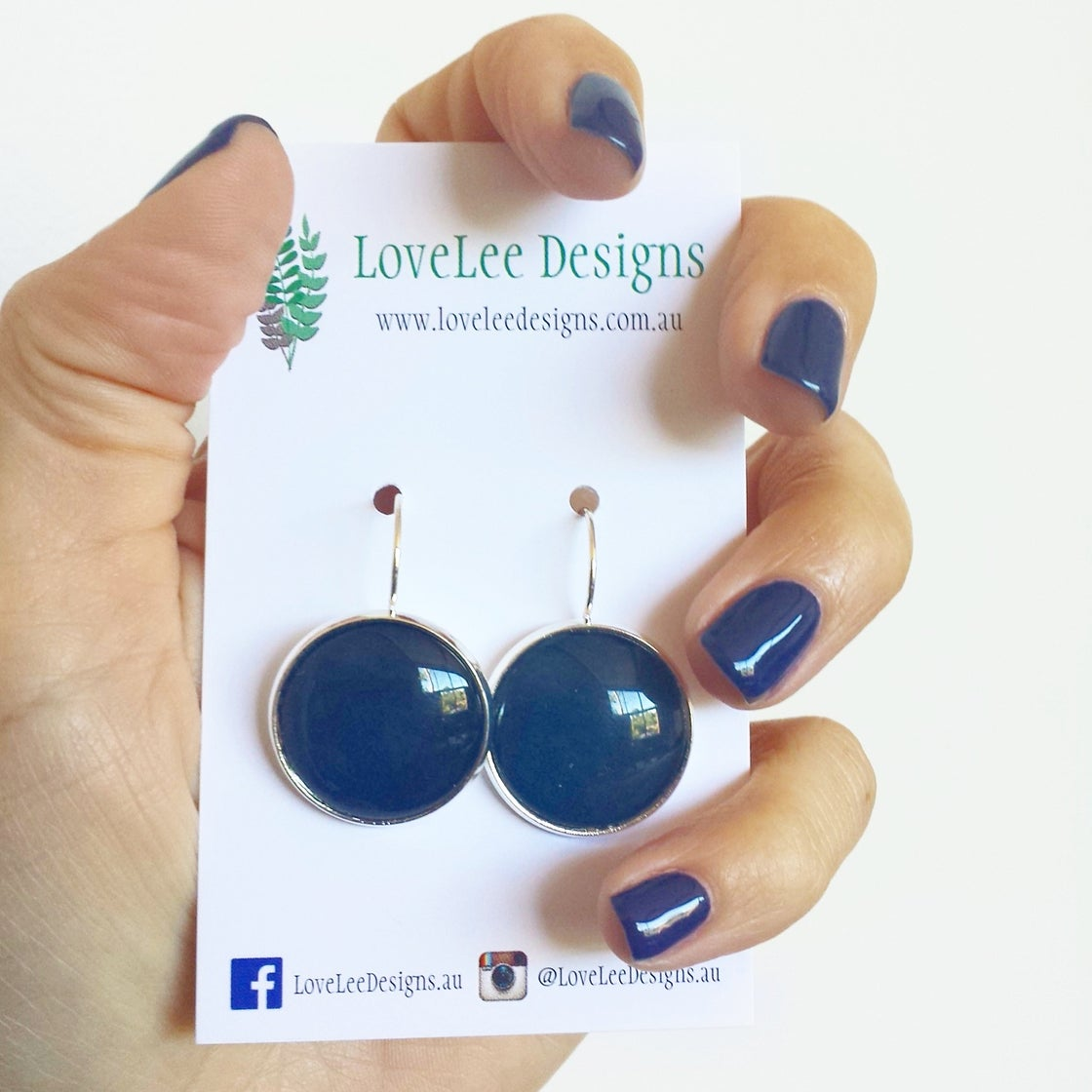 Image of Earrings - Navy