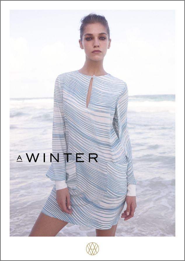 Image of MIU silk dress with long sleeve stripe white-blue