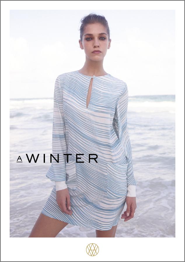 Image of MIU silk dress with long sleeve stripe white-blue