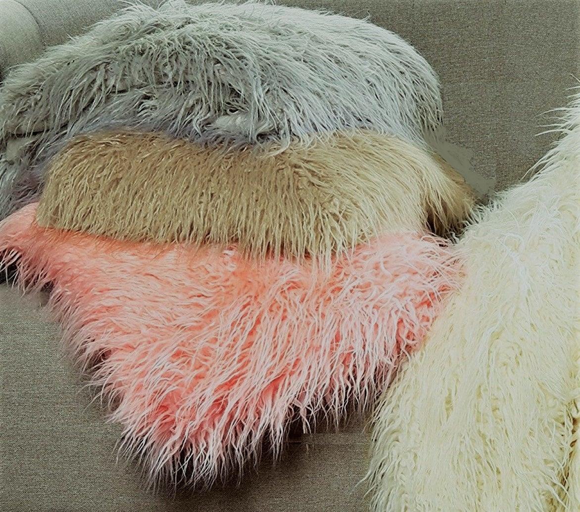 Image of FRISCO MONGOLIAN SHEEPSKIN FAUX FUR PILLOW STONE WHITE