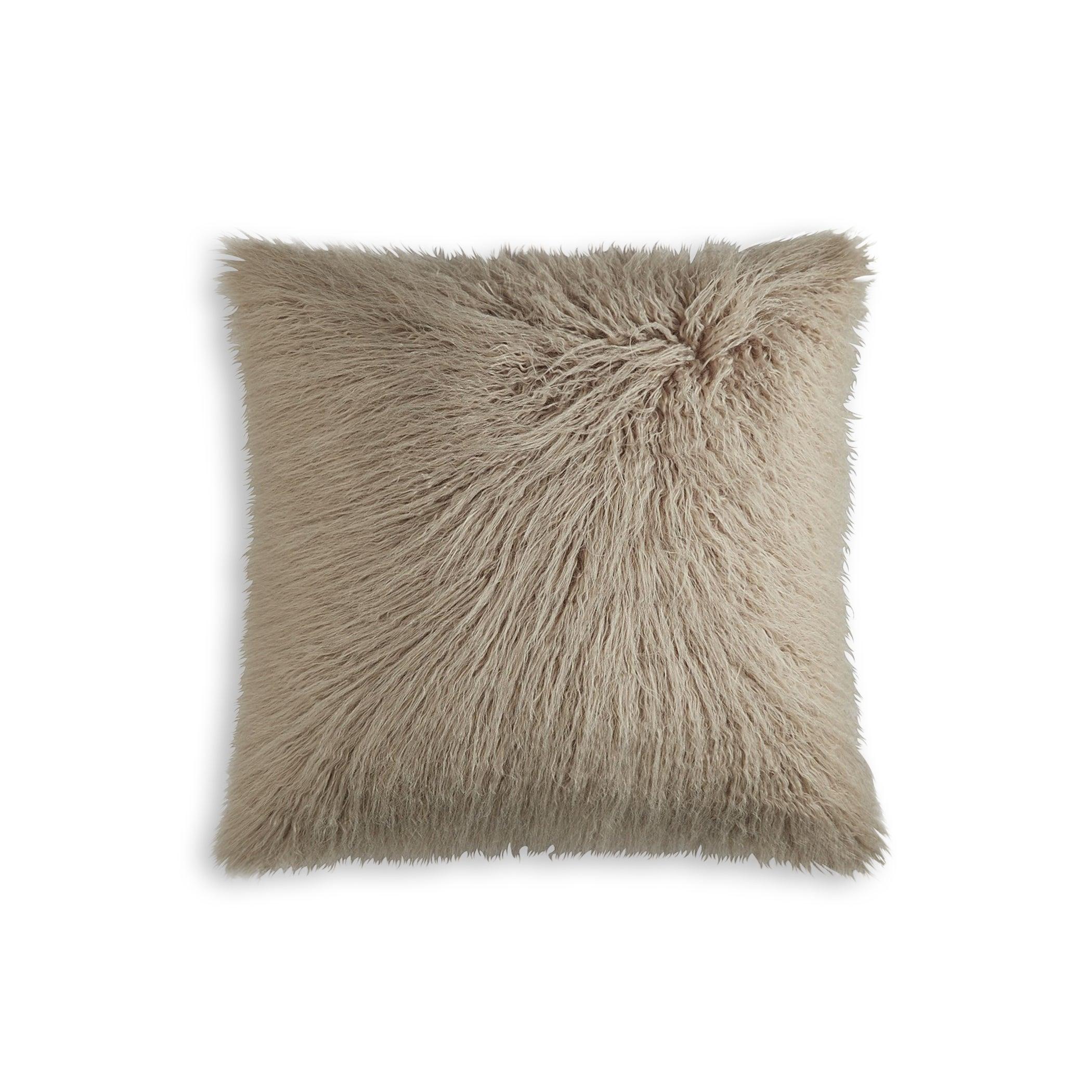 Luxefauxfur Frisco Mongolian Sheepskin Faux Fur Pillow Tan