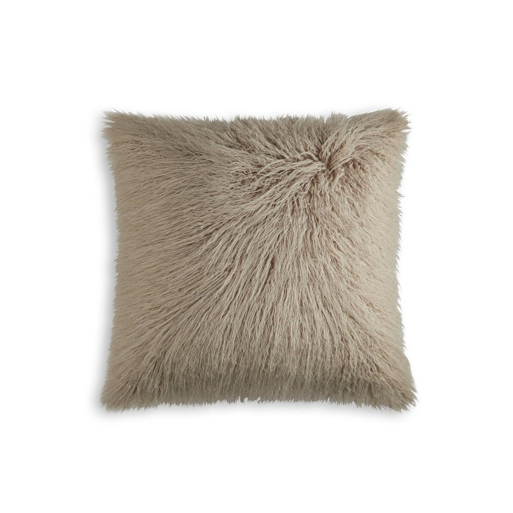 Image of FRISCO MONGOLIAN SHEEPSKIN FAUX FUR PILLOW TAN