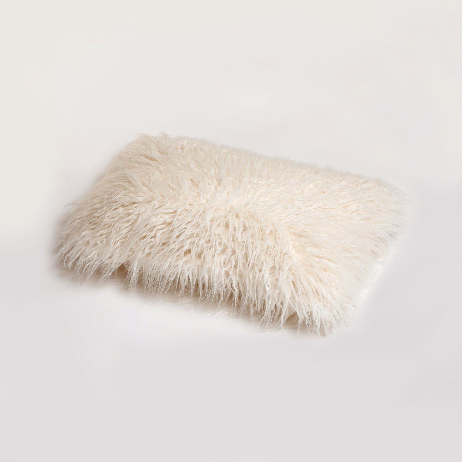 "Image of FRISCO MONGOLIAN SHEEPSKIN FAUX FUR PILLOW STONE WHITE 12"" X 20"""