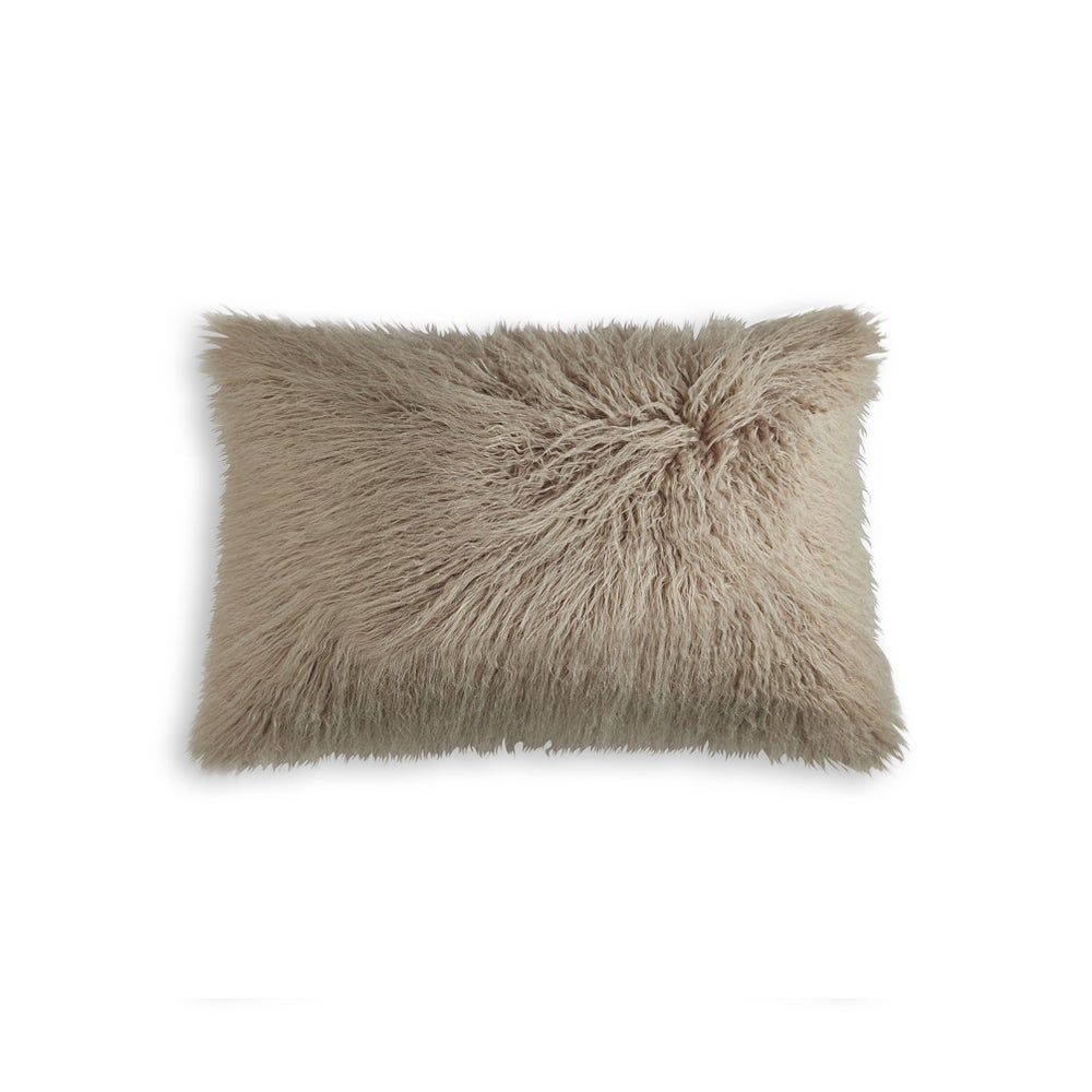 "Image of FRISCO MONGOLIAN SHEEPSKIN FAUX FUR PILLOW TAN 12"" X 20"""