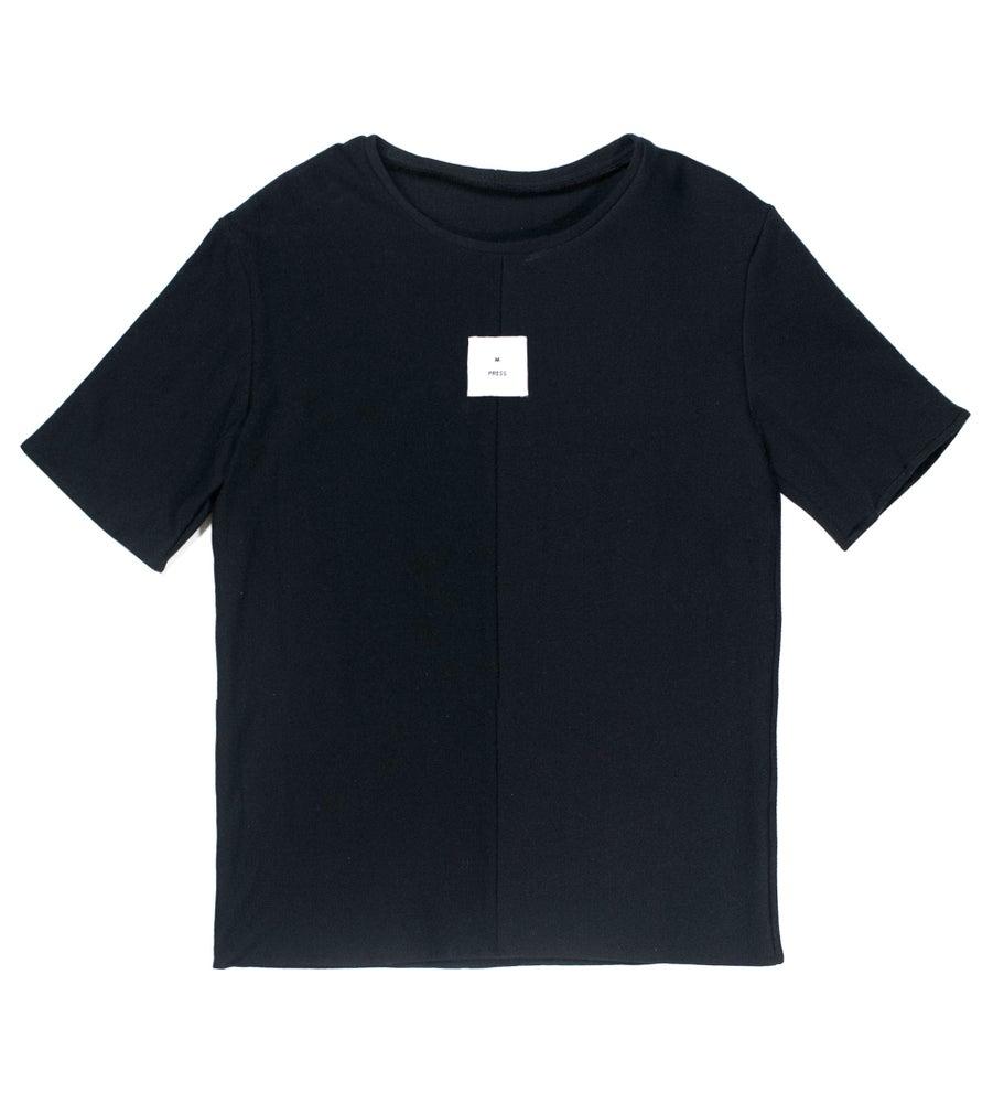 Image of Black Dual Material T-shirt