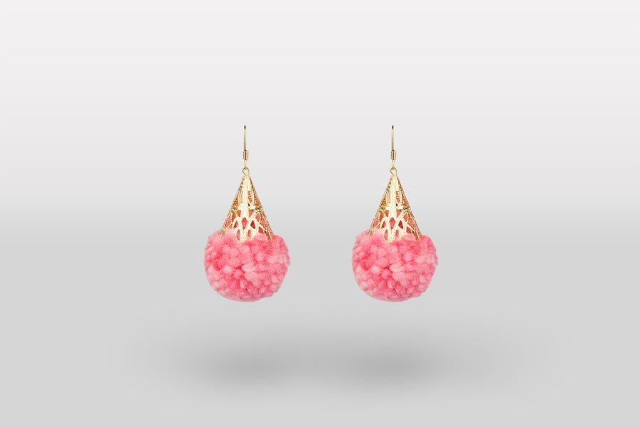 Image of Pompom earrings - pink